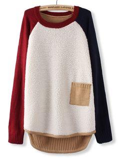 Fleece Patchwork Pocket Long Sleeve Knit Pullover Sweater