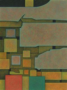 """Red, Yellow, Green (Rojo, Amarillo, Verde),"" 1966, Gunther Gerzso. Oil on masonite; 61.3 × 46.3 cm."