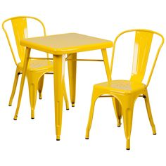 Features:  -Designed for commercial and residential use.  -Engraved designer top.  -Material: Metal.  -Includes table and 2 stack chairs.  Product Type: -Bistro set.  Style: -Contemporary.  Number of