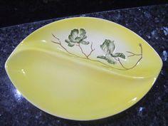 Vintage 1950 s Carlton Ware Australian Design Magnolia Handpainted divided dish