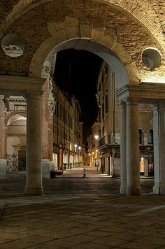 Vicenza at night, Veneto, Italy