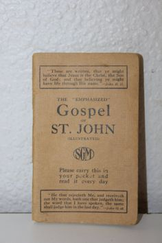 The Emphasized Gospel of St. John, The Pocket Pictorial Gospel, Illustrated, Vintage Bible, Small Brown Book, Vintage Religious Books