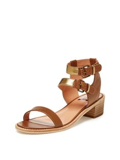 Join today to receive insider pricing on designer fashion, jewelry, handbags, and accessories. Mid Heel Sandals, Leather Sandals, Heels, Dolce Vita Shoes, Metal Buckles, Ankle Straps, Metallic Leather, Spring 2016, Brown