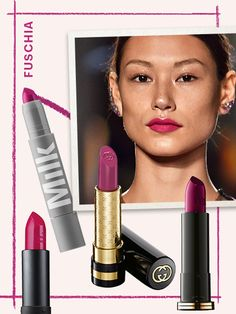 Spring Lipstick Trends - FUCHSIA There's Malibu Barbie hot pink, then there's the fuchsia lipstick we saw at Marchesa this season. The purple-pink hue is a grown-up, cool way to wear bright pink.