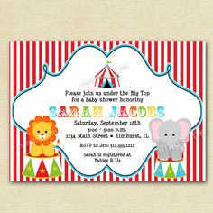 Circus Big Top Baby Shower Invitation - PRINTABLE INVITATION DESIGN. $12.50, via Etsy.