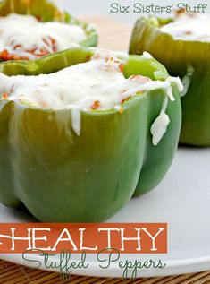 Healthy Stuffed Green Peppers 1 cup (part Skim) mozzarella cheese - 1 tsp salt - 2 Tbsp onion (I added 1/2 an onion because we LOVE them) - 15 oz canned tomato sauce - 5 cups water - 1/2 tsp garlic powder/or garlic salt - 1 pound lean ground turkey - 1 cup quick cooking brown rice - 4 large bell peppers