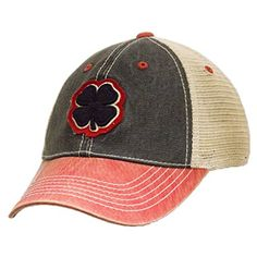 Black Clover LIVE LUCKY Two-Tone Vintage Cap  Frayed Dirty Washed Cotton  Soft Mesh Backing  Structured, Low Profile  Snapback Adjustable  Black Clover Logo On Front & Live Lucky Patch On Back