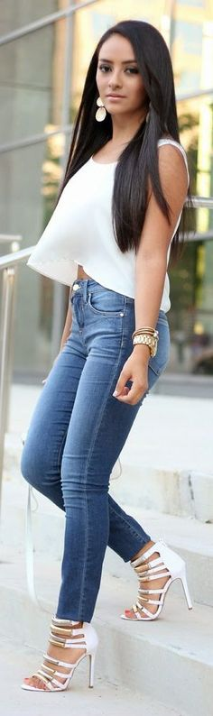 Maytedoll White Strappy Heeled Sandals Denim Skinny Jeans White Blouse Fall Inspo
