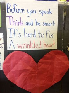 Classroom Community Building Have student wrinkle up the paper heart (not tearing it) and then try to flatten it out. Discuss how words or actions can harm a heart and take time to heal. Good first week of school activity Beginning Of The School Year, First Day Of School, Sunday School, Classroom Organization, Classroom Management, Behavior Management, Classroom Ideas, Classroom Procedures, Future Classroom