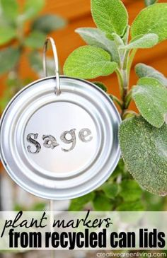 Garden Marker Tutorials for Homemade Plant Labels!: Plant markers from repurposed can lids by Creative Green Living