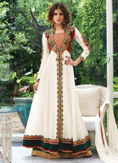 Voguish White Designer Palazzo Suit  Email - support@ethnicoutfits.com Call - +918140714515 What's app / Viber - +918141377746