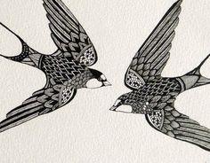 Birds line drawing. Zentangle