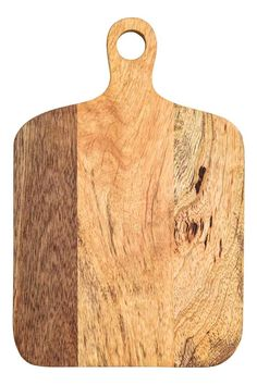 Wooden chopping board: Small wooden chopping board with a handle with a hole for hanging. Width 18.5 cm, length 27.5 cm (including handle).
