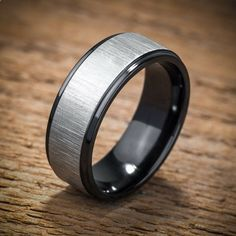 Mens Wedding Band Comfort Fit Interior Black Zirconium by spexton, $299.00 love this one for Anthony
