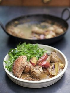 Pork meatballs w sweet onion & apple gravy - Jamie Oliver pork tenderloin, cannellini beans (adds fibre & extends meat), low fat Meatball Recipes, Pork Recipes, Cooking Recipes, Recipies, Family Recipes, Family Meals, Superfood Recipes, Healthy Recipes, Pork Fillet
