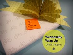 Wrap a gift with only office supplies!  Great idea to make your own cool wrapping paper!