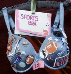 "A decorated ""sports bra"" for the Artful Bra auction is shown at Blue Chip Restaurant & bar in Danbury. Decorated bras were donated by people..."