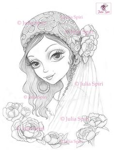 Coloring Pages, Digital stamp, Digi, Bride, Boho, Flowers, Peony, Fantasy, Whimsical, Crafting, Making cards. Gypsy bride