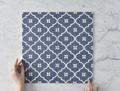 Mollymook Navy Blue Encaustic Look Tile Cement Tiles Bathroom, White Bathroom Tiles, Concrete Tiles, Bathroom Flooring, Floor Patterns, Tile Patterns, Navy Bathroom, Downstairs Bathroom, Family Bathroom