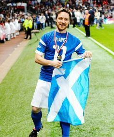 James McAvoy at the Soccer Aid charity match at Old Trafford on June 8, 2014