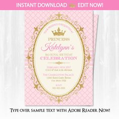 Princess birthday party invitation glitter sparkle printable invite princess invitations princess birthday party invitations diy instantly downloadable and editable file personalize filmwisefo