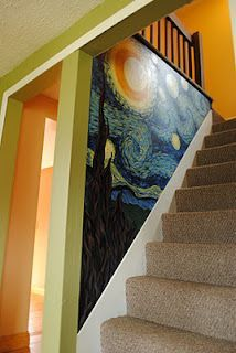 Van Gogh Starry Night painted on stairwell that is so cool! I wonder if you cou. , Van Gogh Starry Night painted on stairwell that is so cool! I wonder if you could cheat and get one of the wall stickers and cut it to do the same thing? Decoration Restaurant, Painted Stairs, Painted Wall Murals, Hand Painted Walls, Wall Art, Deco Design, Design Design, Interior Design, Vincent Van Gogh