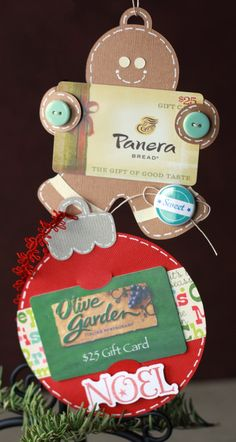 What cute gift ornaments Amy made using our GIVE A GIFT CARD SVG KIT.   These are perfect for all with just the right gift card!