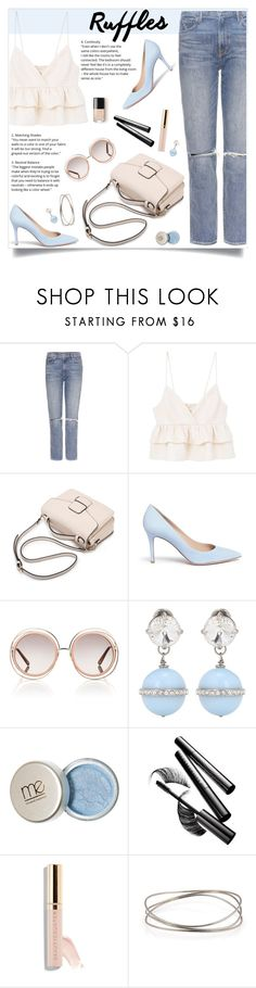 """""""Add Some Flair"""" by tamara-p ❤ liked on Polyvore featuring GRLFRND, MANGO, Gianvito Rossi, Chloé, Miu Miu, Chantecaille, Beautycounter, Tiffany & Co. and ruffledtops"""