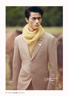 Zhao Lei (Model) In Burberry and Jean-Paul Gaultier in Elle Man Vietnam Magazine
