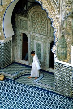 Travel Inspiration for Morocco - Courtyard, Karaouiyne Mosque , Fez Medina, Morocco. Stunning architecture!