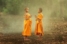 Young monks while meditation in the nature