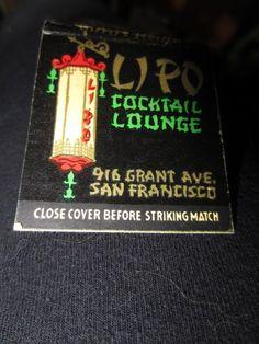 "Vintage LIPO Cocktail Lounge San Francisco Matchbook ""Where Friendly Spirits Reign"" 916 Grant Ave"