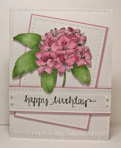 Spotted and admired: One pretty card by Laurie Unger! Love how you brought Technique Tuesday's Rhododendron - Greenhouse Society stamp set to life. Thanks for using our stamps, Laurie!