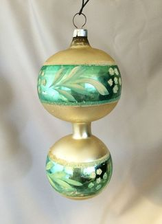 1940s Vintage Germany Double Sphere Blown Glass Christmas Ornament with Hand Painted Floral Decoration . . . Lovely and very rare old large German blown mercury glass ornament with two round green and white spheres connected by a mercury glass tube. Fine and dainty!
