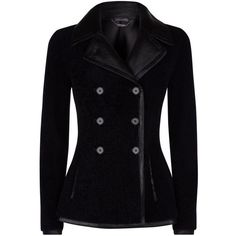 Alexander McQueen Sheepskin Jacket (6,985 CAD) ❤ liked on Polyvore featuring outerwear, jackets, coats, blazers, casacos, gothic jacket, sheep jacket, alexander mcqueen jacket, black fitted jacket and black double breasted jacket