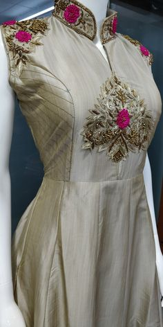 3be17c91bdf Pure Bamboo silk fabric with zardosi work at neck and sleeves. Indian Gown  Design