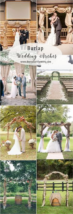 rustic country farm burlap wedding arch ideas