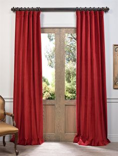 Red Vintage Cotton Velvet Curtain - SKU: VCCH-HYR1203 at https://halfpricedrapes.com