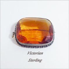 Victorian Brooch Pendant Sterling Amber Glass Antique Jewelry