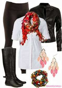 Long shirt, leggings, scarf & leather jacket. Cute look for fall!