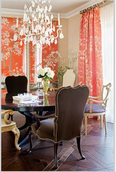 .I love this eclectic idea of using different chairs in your elegant dining room plus I love the curtains