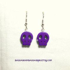 From USA Purple Skull Face Earrings  by BaddaBoomBaddaBing on Etsy