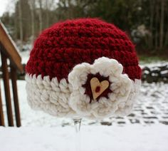 """If I reach 100 """"likes"""" by Feb. 1, 2012 on my Facebook page """"Repeat Crafter Me"""" I will give away this Valentine's Crochet Hat!"""