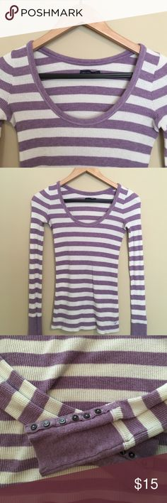 American Eagle striped sweater Purple & cream striped American Eagle sweater with buttons on the end of the sleeves. Tight fitting, no holes or stains. *make an offer!* American Eagle Outfitters Sweaters Crew & Scoop Necks
