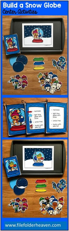 The Build a Snow Globe Center Activities, can be set up as cookie sheet activities, a magnet center or completed as cut and glue activities. This activity includes: 1 background, snow globe building pieces, and three sets of building cards for differentiation. Students can build 16 different snow globes by looking a picture cards (level 1), using the cards with words and pictures (level 2), or using the cards with just words (level 3).