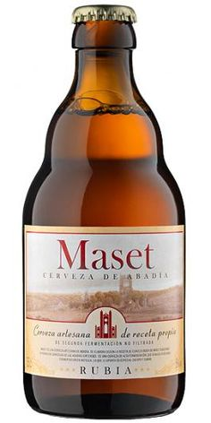 Cerveza Abadía Maset Rubia.  Un placer refrescante.  Siguiendo la tradición cervecera de los monjes cistercienses, Maset del Lleó presenta su propia cerveza rubia. El secreto radica en su segunda fermentación en botella, lo que le aporta un especial cuerpo, y en que no se somete a ningún proceso de filtración para conservar su intenso sabor. Se presenta en un envase de 33cl.