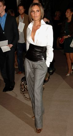 Victoria Beckham Style Evolution: Sleek bob and a sleek look in pants for Fashion Week in 2007.