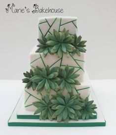 Succulent wedding cake with painted detail and handmade succulents #succulentwedding #wedingcakemanchester #greenweddingcake Cool Cake Designs, Wedding Cake Designs, Wedding Cake Toppers, Tiered Cake Stands, Tiered Cakes, Succulent Wedding Cakes, Succulent Cakes, Cake Decorating Classes, Fondant Cake Toppers