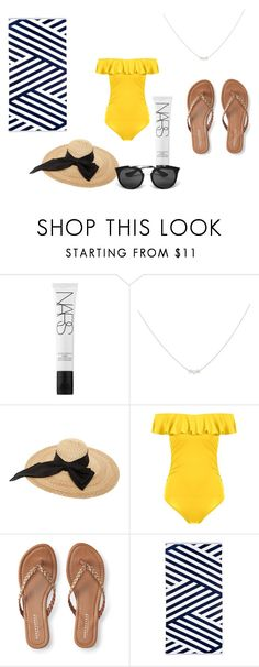 """""""Day at the Beach"""" by mford21 ❤ liked on Polyvore featuring NARS Cosmetics, Accessorize, Kreisi Couture, Aéropostale, Sunnylife and Prada"""
