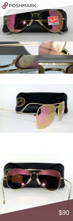 NWT RB3025 flash lens aviator ray ban matte gold New with tags Ray Ban aviator with size 58mm flash lenses (mirrored). Matte gold frame (looks shiny in photos because of flash) with cyclamen flash (pink/yellow) lenses. Asking $90 price is firm not interes